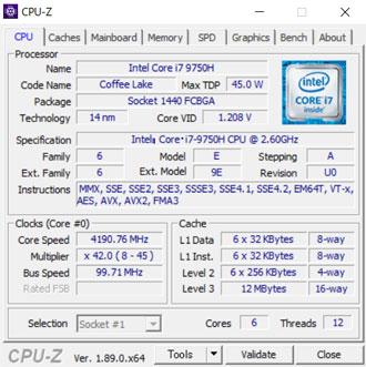NEXTGEAR-NOTE-i5565のCPU-Z
