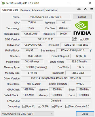 NEXTGEAR-NOTE-i5565のGPU-Z