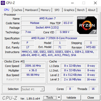 Ryzen7 3700XのCPU-Z