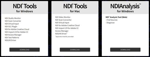 NDI Toolsのダウンロード