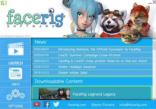 FaceRigのTOP画面